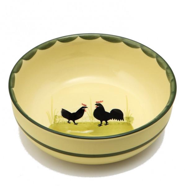 Zeller Keramik Hahn und Henne Schüssel rund 20 cm