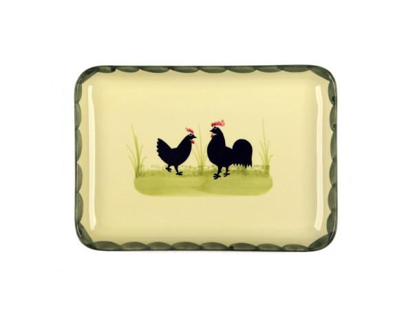 Zeller Keramik Hahn und Henne Platte, eckig 22 x 15 cm