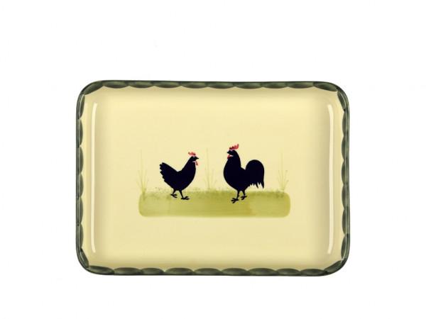 Zeller Keramik Hahn und Henne Platte, eckig 27 x 19 cm