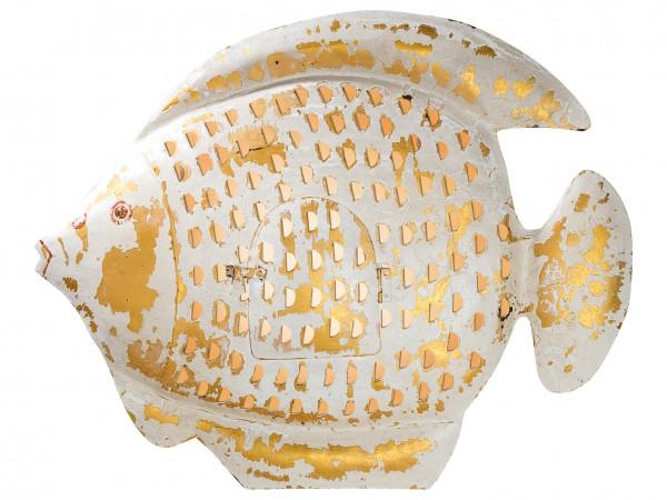 Fisch Wanddekoration 3D Wandrelief Laterne aus Metall Wandkunst Metallbild