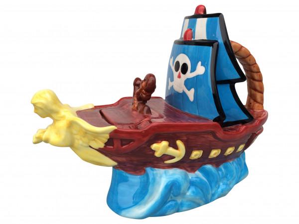 Jameson & Tailor Design Piratenschiff Teapot Keramik Teekanne Dekor 'strange zoo'