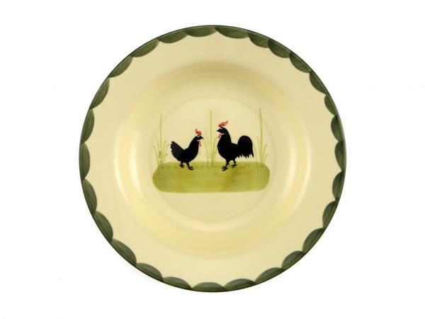 Zeller Keramik Hahn und Henne Teller tief 21 cm