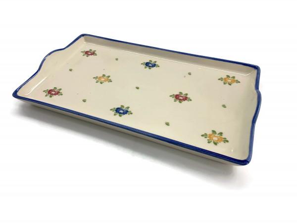 Zeller Keramik Petite Rose Tablett im Dekor 20 x 12 cm