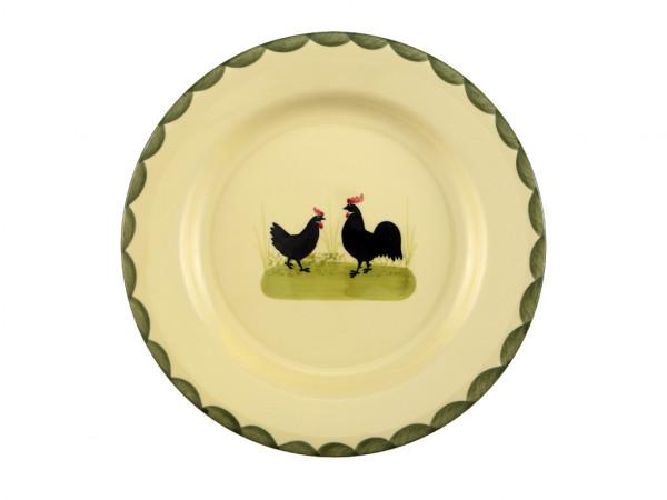 Zeller Keramik Hahn und Henne Teller flach 25 cm