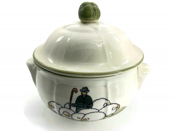 Zeller Keramik Schäfchen Deckelschüssel 1,80 l