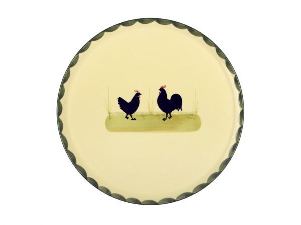 Zeller Keramik Hahn und Henne Tortenplatte 30 cm