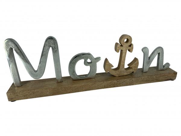 Schriftzug Moin Aluminium auf Mangoholz Sockel Deko Design