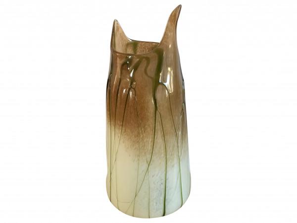 Vase Glas groß Selva Verde massiv grün beige braun 44cm von Gilde