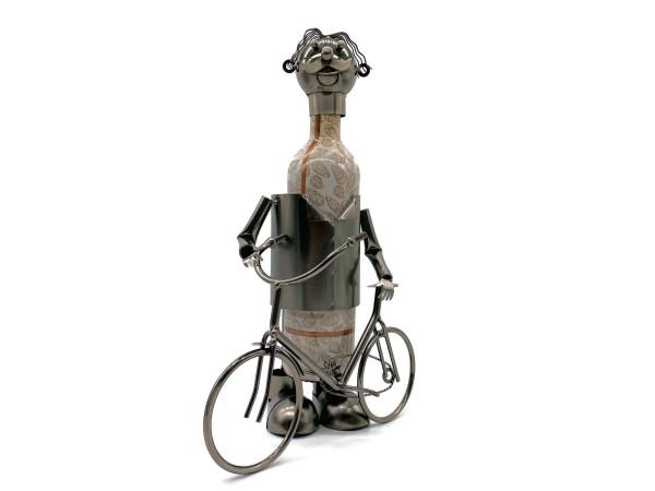Weinflaschenhalter Metall Figuren Fahrrad Radfahrer Otto Deko