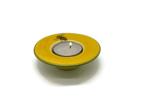 Zeller Keramik Biene Teelichtleuchter m. weissem Teelicht 9 cm