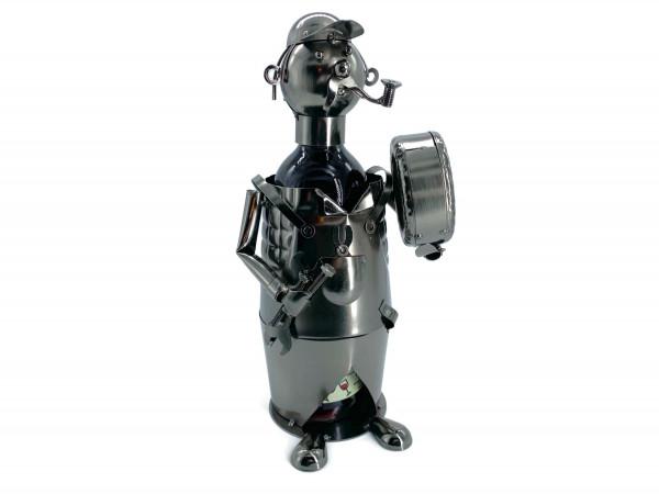 Weinflaschenhalter Metall Figuren Auto Mechaniker Hardy Design Deko von eXODA