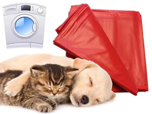 Haustier Unterlage für Hunde und Katzen 180x260cm waschmaschinenfest bis 95° rot flexibel