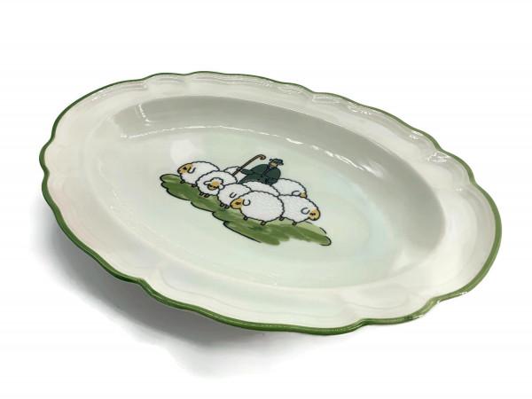 Zeller Keramik Schäfchen Platte, oval 31 cm