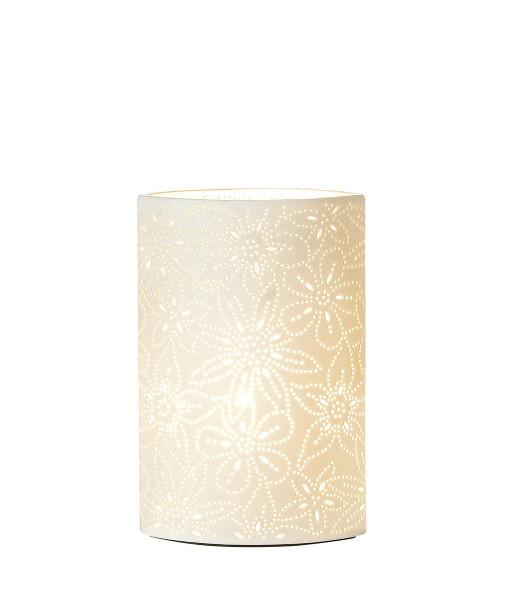 Prickellampe mit Blumenmuster weiß aus Porzellan mit Lochmuster