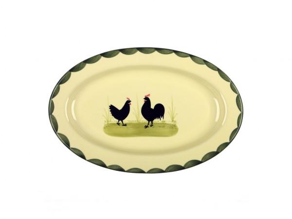 Zeller Keramik Hahn und Henne Platte, oval 32 cm