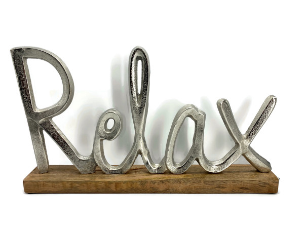 Schriftzug Relax Aluminium auf Mangoholz Sockel Deko Design