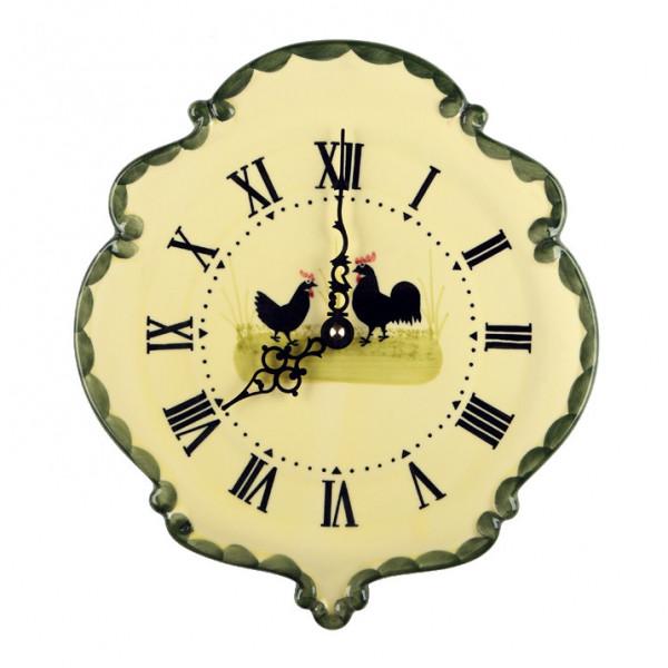 Zeller Keramik Hahn und Henne Uhr