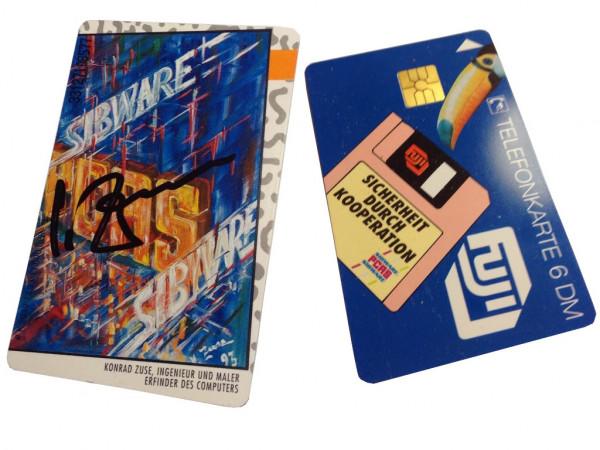 Telefonkarte Konrad Zuse handsigniert - Erfinder des Computer - PCAS Seltenheit - für Sammler
