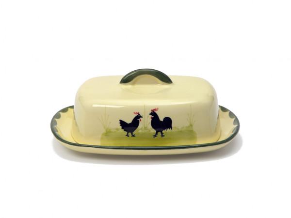 Zeller Keramik Hahn und Henne Butterdose mit Knauf 250 g