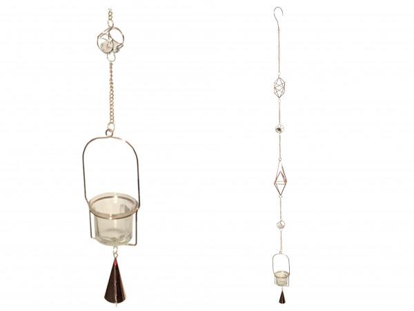 Windspiel Girlande Teelicht mit Glocke Deko aus Metall Kupfer mit beleuchteten Glassteinen und Teelicht Halter