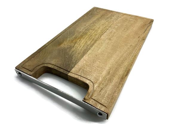 Schneidebrett Holz 40 cm x 24 cm aus Mangeholz mit Rille und Edelstahlgriff