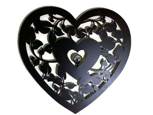 Wandrelief Herzranke dunkelbraun mit Metallkugel