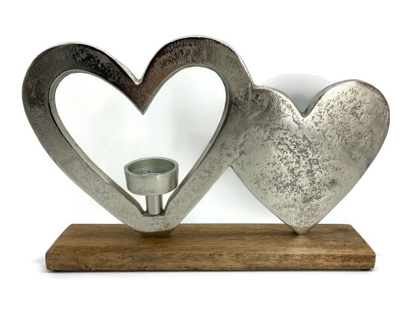 Herz aus Aluminium mit Teelichthalter auf Mangoholz Sockel Deko Design