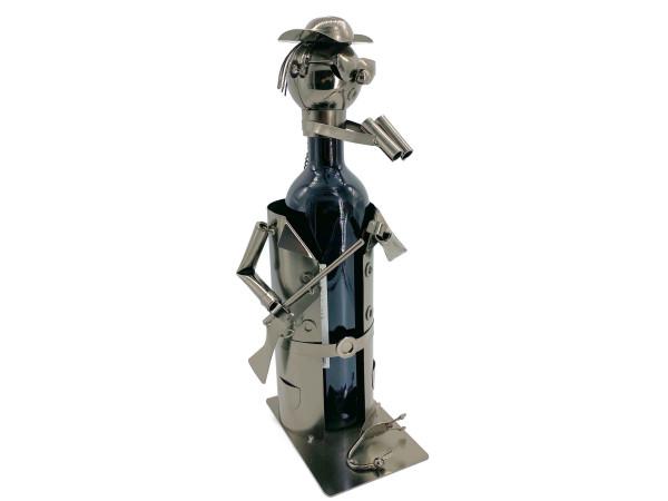 Weinflaschenhalter Metall Figuren Jäger Erwin Design Deko