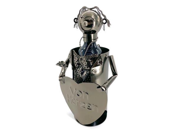 Weinflaschenhalter Metall Frau mit Herz