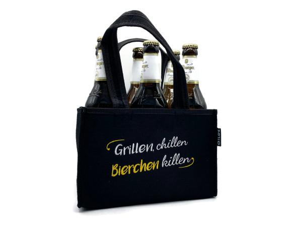 Männerhandtasche mit Spruch Grillen, chillen, Bierchen killen für 6x 0,5l Flaschen