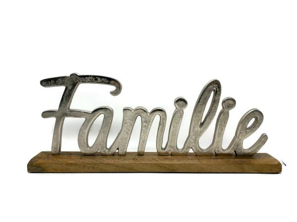 Schriftzug Familie Aluminium auf Mangoholz Sockel Deko Design