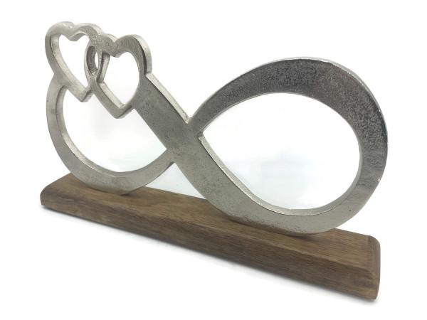 Unendlichkeit aus Aluminium auf Mangoholz Sockel Deko Design