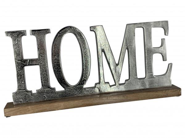 Schriftzug Home Aluminium auf Mangoholz Sockel Deko Design
