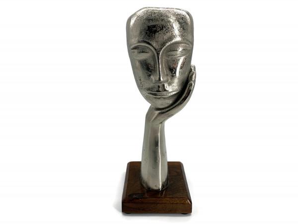 Skulptur Figur Maske In Gedanken Aluminium auf Mangoholz Sockel