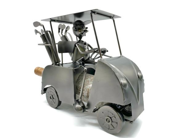 Weinflaschenhalter Golfer Tiger im Club Car