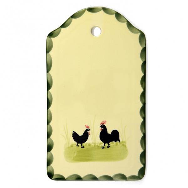 Zeller Keramik Hahn und Henne Brotplatte 25 x 15 cm