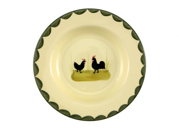 Zeller Keramik Hahn und Henne Teller tief 24 cm