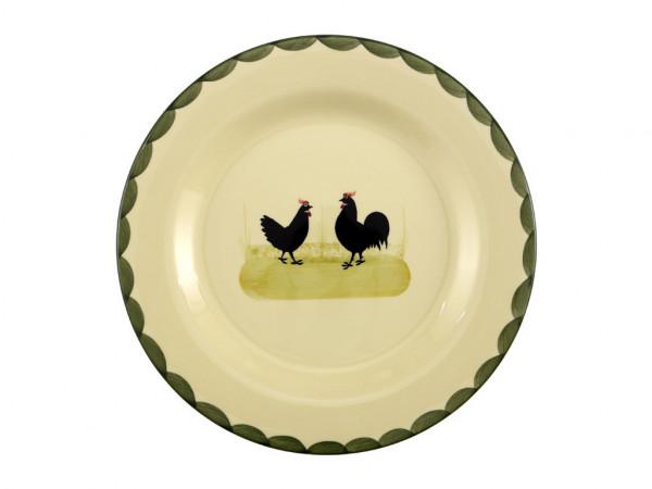 Zeller Keramik Hahn und Henne Teller flach 28 cm