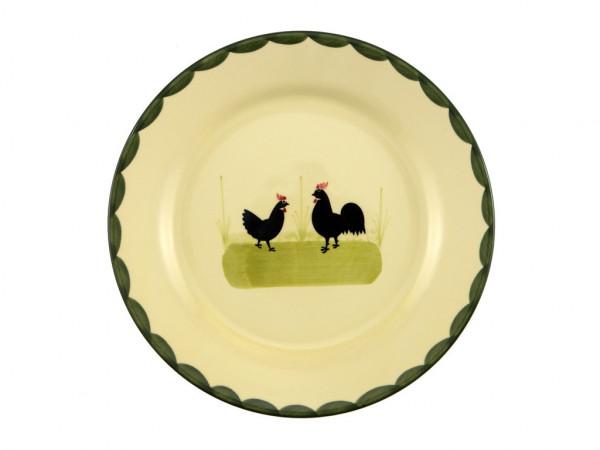 Zeller Keramik Hahn und Henne Teller flach 21 cm