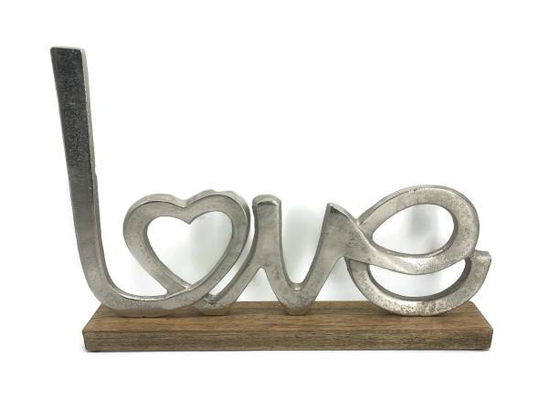 Schriftzug Love Aluminium auf Mangoholz Sockel Deko Design