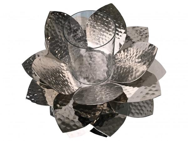 Garten Windlicht groß silber aus Aluminium rostfrei Metall Blüte silber für draussen mit Glas 40cm x 30cm von Gilde
