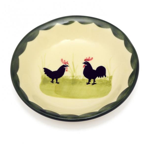 Zeller Keramik Hahn und Henne Zuckerschale 9 cm