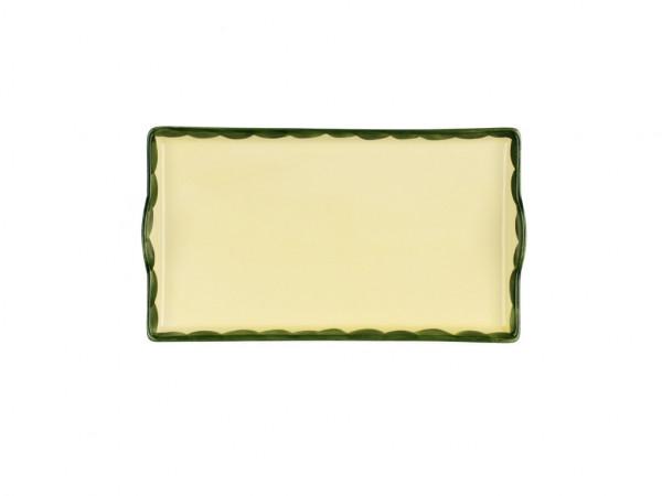 Zeller Keramik Hahn und Henne Tablett im Dekor 20 x 12 cm